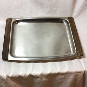 Vintage Stainless Steel Serving Tray Dish Wood